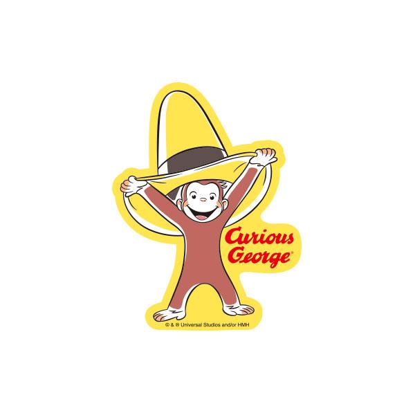 おさるのジョージ キャラクターステッカー 80th 帽子