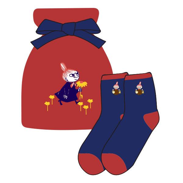 【レディース】もっこもこ靴下in巾着 MOOMIN リトルミイとお花 RD