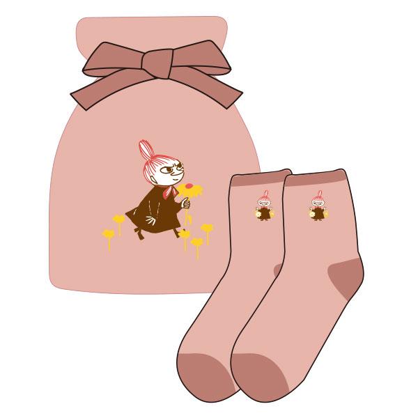 【レディース】もっこもこ靴下in巾着 MOOMIN リトルミイとお花 PK