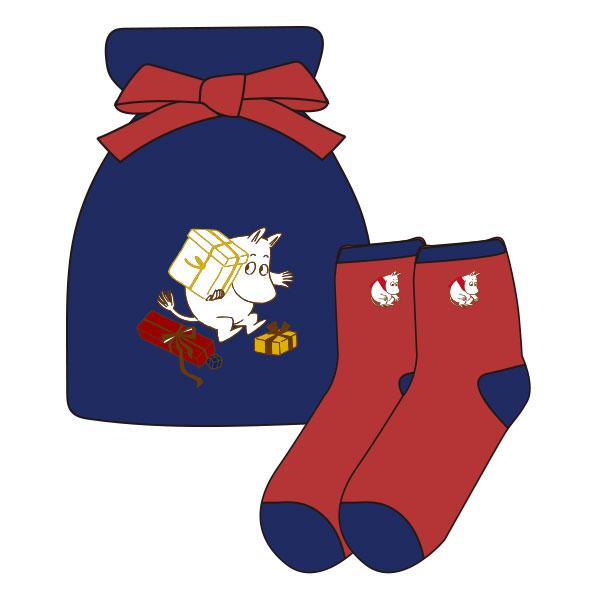 【レディース】もっこもこ靴下in巾着 MOOMIN ムーミンとプレゼント NV