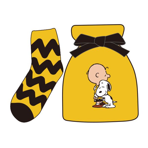 【レディース】もっこもこ靴下in巾着 PEANUTS チャーリー・ブラウン