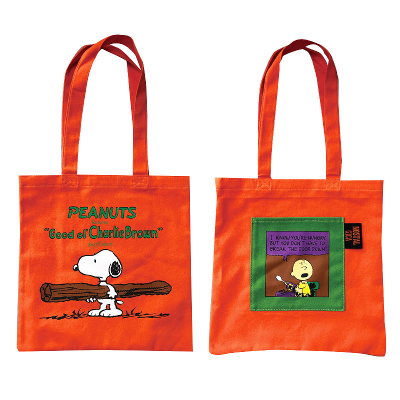 <NOSTALGICA>PEANUTS ポケット付カラートートバッグ コミック OR